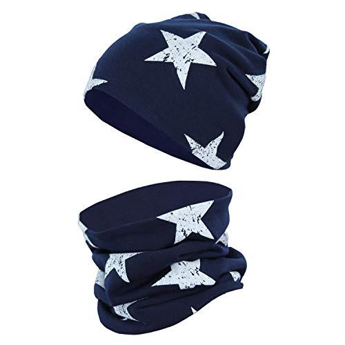 TupTam Unisex Kinder Beanie Mütze Schlauchschal Set, Farbe: Sterne Weiß/Dunkelblau, Größe: 48-50 cm
