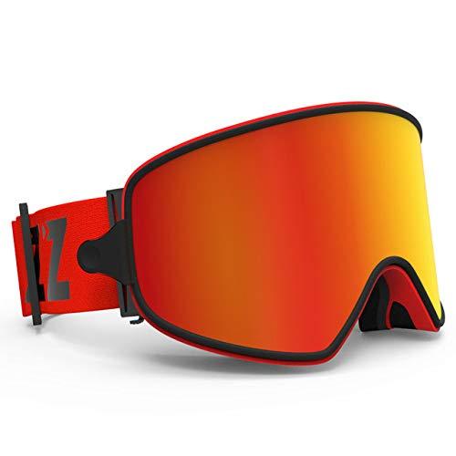 KTUCN Skibrille 2 in 1 mit magnetischer Doppelnutzungslinse für Nachtskifahren Anti-Fog UV400 Snowboardbrille Herren Damen Skibrille, Rote Linse, China