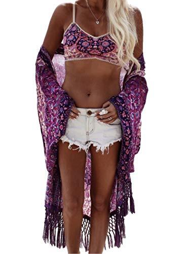 PANAX Damen Chiffon Strandkleid Swimsuit Bikini Cover up Sommer Poncho Lila
