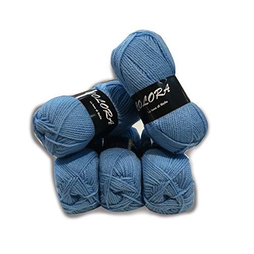 Panini tessuti 5 gomitoli lana colora -azzurro- per lavori ai ferri-34 colori disponibili- 50g/140metri