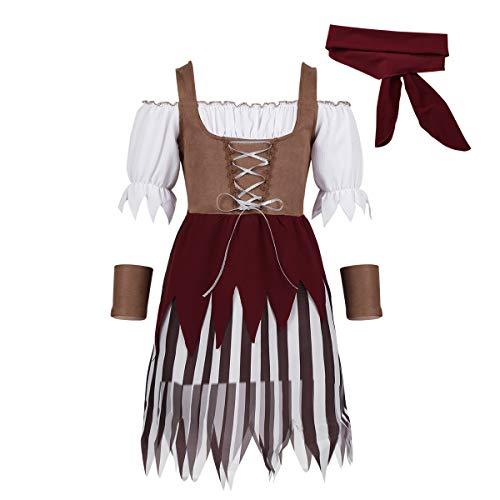MSemis Disfraz Infantil de Pirata Caribe para Niña 3Pcs Vestido Oktoberfest Pañuelo de Cabeza Bandas Fiesta Carnaval Actuación Marrón 5-6 Años