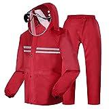 YUJIE Regenmantel Herren Regenmantel (Regenjacke und Regenhosen Set) Adult Kapuzen Outdoor Arbeit Motorrad Golf Angeln Wandern rot Datum rot (größe : XXL)