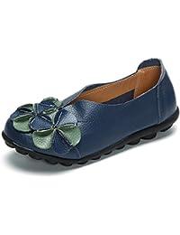 SHELAIDON Damen Handgemachte Lederschuhe Weinlese Blumen Flats Schuhe (EUR37,green)