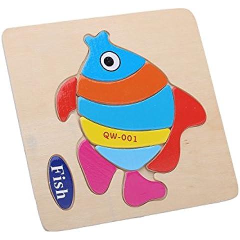 Merssavo 005 Pescado Juguetes Educativos de los Niños de Rompecabezas de Escenas de Animales Madera 3D