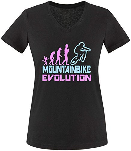 EZYshirt® Mountainbike Evolution Damen V-Neck T-Shirt Schwarz/Rosa/Hellbl