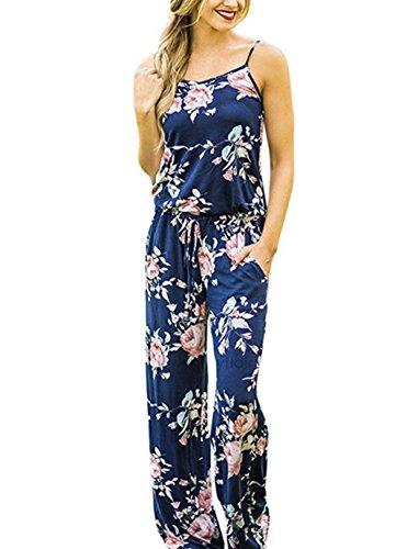 ASSKDAN Damen Elegant Blumen ärmellos Schulterfrei Lose Overall Romper Playsuit Jumpsuits