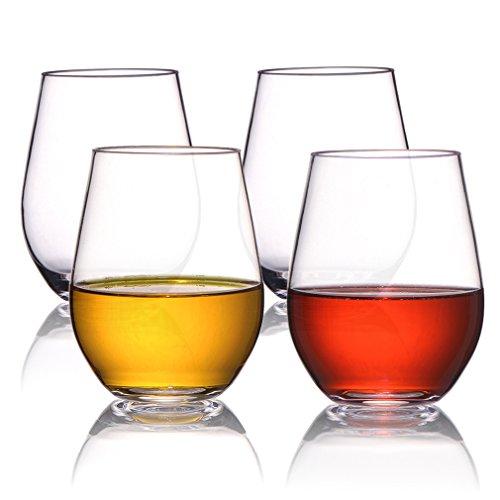 MICHLEY 100% Tritan-Plastique Verres à vin-Recyclable Vin Plastique Tasses - incassable Stemless Verrerie-Lot de 4-19 oz-Verres à vin sans BPA