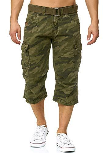 Indicode Herren Nicolas Check 3/4 Karierte Cargo Shorts inkl. Gürtel aus nachhaltiger Baumwolle Dired Camouflage L - Camouflage Cargo Hose