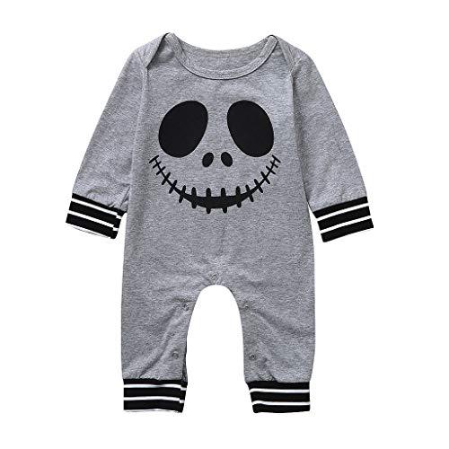 Romantic Halloween Kostüme Kinder Baby Kleidung Kurzarm Jungen Streifen Strampler Neugeborenen Cosplay Overall Strampler Baby Schädel Aufdruck Spielanzug Baby-Strampler für Jungen