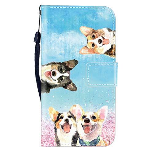 Sunrive Hülle Für WileyFox Spark X, Magnetisch Schaltfläche Ledertasche Schutzhülle Etui Leder Case Cover Handyhülle Tasche Schalen Lederhülle MEHRWEG(W8 Hündchen)