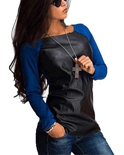 Donna Tops T-shirt Maniche Lunghe Camicia Maglietta Blu