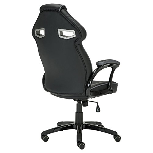 GTFORCE ROADSTER 1 SPORT RACING CAR OFFICE CHAIR, LEATHER, ADJUSTABLE LUMBAR SUPPORT GAMING DESK BUCKET (Gray)