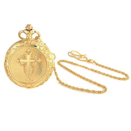 Large Gold Plated Shiny Religious Cross Mens Pocket Watch (Plated Watch Gold)
