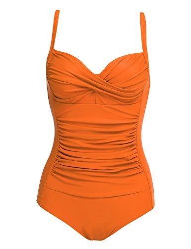 Lonlier Damen Badeanzug Push Up Vintage Bauchweg Sexy Frauen Bademode Monokini Tankini Strand Schwimmanzug, Orange - Large