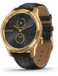 Garmin Vivomove Luxe Smartwatch Hybrid Analogico Digitale Unisex, Cassa Oro, Cinturino Pelle Black 010-02241-02