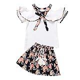 LEXUPE Kleinkind Kinder Baby Mädchen Blumendruck Rufflus Bowknot Tops Röcke Outfits Sets(Weiß,140)