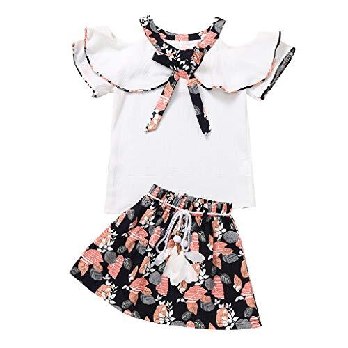 Pwtchenty Kinderbekleidung Sommer Kleidungs Baby Mädchen Outfits Kleidung Bowknot Kurzarm Tops Shorts Hosen Sets Anzug 2-7 Jahre