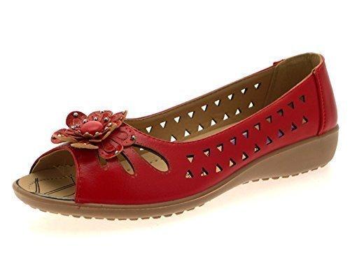 Para Mujer De Dora De Lora Piel Sintética Cómodo Aberturas Zapato Plano Baja De cuña Sandalias Flor Mujer Talla REINO UNIDO 3-8 - Rojo, 8 UK / 41 EU