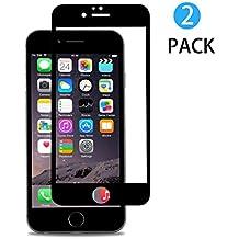 [2-Unidades] Vidrio Templado iPhone 6 Plus Protector de Pantalla, Hi-Luck 0.33mm Premium 3D Tacto Cobertura Completa Bordes Curvados Cristal Templado para iPhone 6 Plus 5.5 pulgadas Negro(9H, PET, Bordes a Bordes)