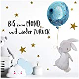 Little Deco DL161 Children's Wall Sticker Rabbit and Quote Up to the Moon I A4 21 x 29.7 cm Balloon Children's Pictures Decorative Baby Room Boy Sticker Wall Sticker
