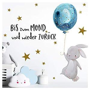 Little Deco Kinder Wandtattoo Hase & Zitat Bis zum Mond I A4-21 x 29,7 cm I Luftballon Kinderbilder Wanddeko Babyzimmer…