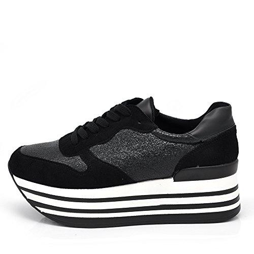 If Fashion Sneakers Scarpe da Ginnastica Donna Pelle Sintetica Zeppa Para Rialzo Righe F207 V732 rosa