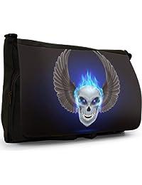 Flaming Fire Skulls Large Messenger Black Canvas Shoulder Bag - School / Laptop Bag
