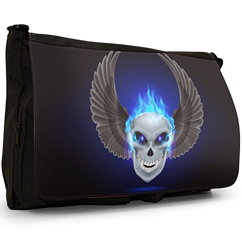 Flaming Fire, motivo: teschio, colore: nero, Borsa Messenger-Borsa a tracolla in tela, borsa per Laptop, scuola Blue Flaming Fire Skulls