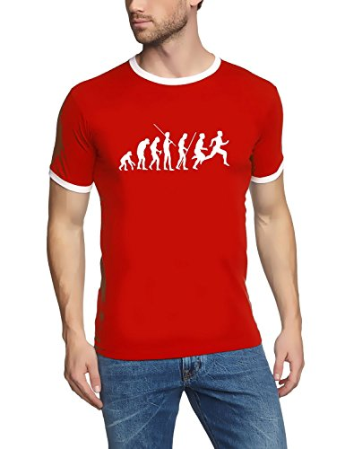 Coole-Fun-T-Shirts T-Shirt LAUFEN Joggen Evolution ! RINGER, rot, L, 10682_rot_RI_GR.L - Zeit Ringer T-shirt
