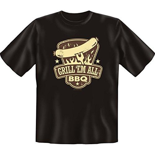 Grill Em All -- Fun T-Shirt für Grillmeister -- Farbe: schwarz Schwarz