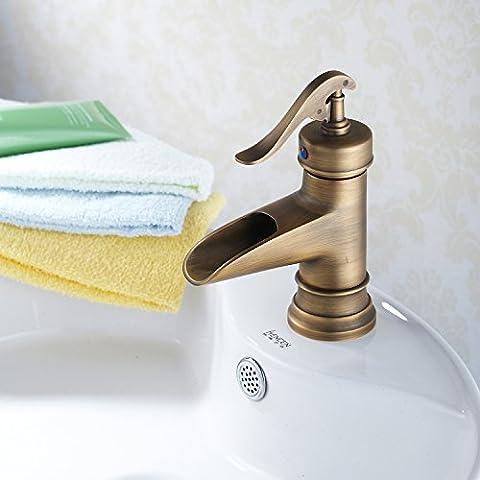 BL @ européenne Antique Wide Mouth cascade en laiton massif lavabo robinet