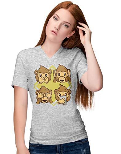 Cute Monkey Reaction Faces Illustration Damen V-Neck T-Shirt S
