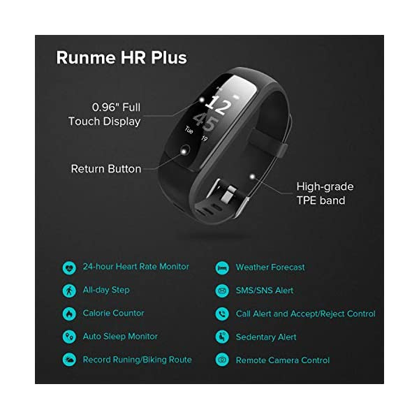 Runme Activity Tracker, Fitness Tracker con Monitor de Ritmo cardíaco y sueño, Smart Fitness Watch con Podómetro, GPS Tracker, Impermeable IP67 para Android/iOS(Morado) 2