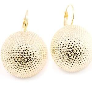 Boucles d'oreille fantaisie bouton or martelé