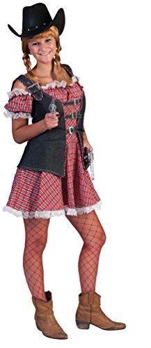 Karneval-Klamotten Cowboy Cowgirl Kostüm Damen Frauen sexy Western-Kostüm Kleid kariert inkl. Jeans-Weste Größe 44/46