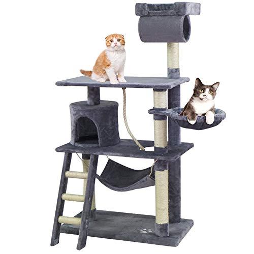 KExing Árboles para Gatos Árbol de Escalada Extra Amplio Cat Climbing Tree Sisal Plush con Game Rope 140 cm Gris