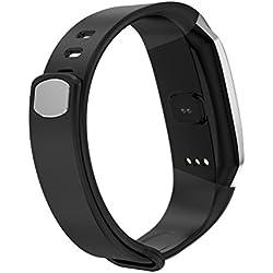 NICERIO Élégant Écran Couleur Intelligente Sport Étape GPS Track Bracelet de Surveillance de la Pression Artérielle de la Fréquence Cardiaque (Ceinture Noire et Gun Couleur Side)