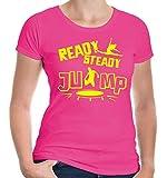 Girlie T-Shirt Ready, steady, jump-S-Fuchsia-Neonyellow