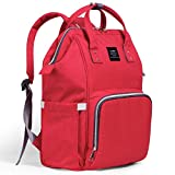 Tiscen Diaper Bag Backpack Baby Changing Bag Rucksack Multi-Function Waterproof Travel Nappy Tote Bags for Mom and Dad with Large Capacity (Red)