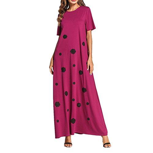 aftan Maxi-Kleid für Frauen, Muslimische Sommer Kurzarm-Blume Kleid, Lose Arabisches Kleid, Lila,XXXL (Typ Kostüm Kaftan)