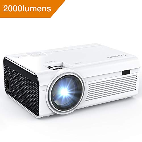 Mini Beamer, Crosstour LED Videoprojektor 1080P unterstützt, tragbarer HD-Projektor mit HDMI- und AV-Kabel, Arbeit mit TV Box / Amazon Fire TV-Stick / PC / PS4 / HDMI / VGA / TF / USB / Smartphones