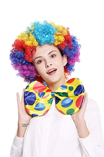 DRESS ME UP - BB-042-clown XXL Fliege Bowtie Binder riesig gelb bunt Punkte Clown Zirkus (Varieté Zirkus Kostüm)