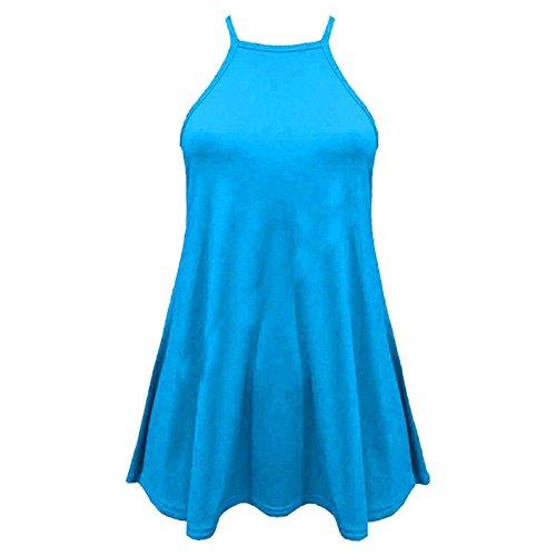 Mesdames col haut Cami Vest manches uni Flared Balançoire Haut Taille 36-50 Turquoise