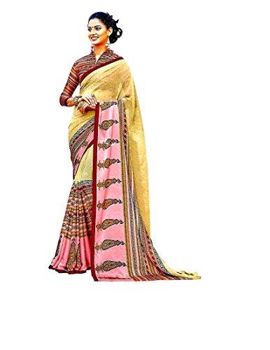 Krish Crepe Silk Fancy Designer Sarees 6.30 meter with blouse-Multicolor