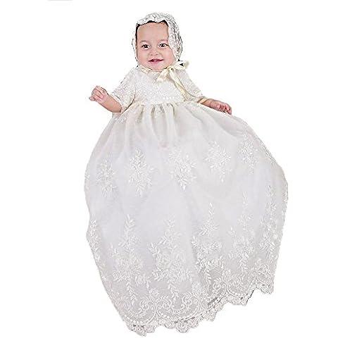 abwedding bebé niña bordado, largo, bautismo, bautizo vestidos de novia vestido con sombrero