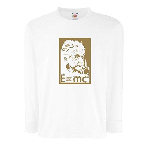 lepni.me Kinder-T-Shirt mit Langen Ärmeln Physikwissenschaftler Albert Einstein, Geschenk für Wissenschaftsliebhaber (9-11 Years Weiß Gold)