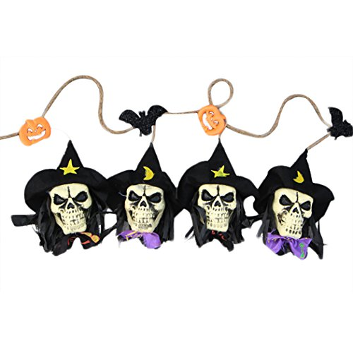 Joyibay Halloween Banner Unheimlich Party Banner Dekorativer Kürbis Skelett Kopf Hängende Fahne
