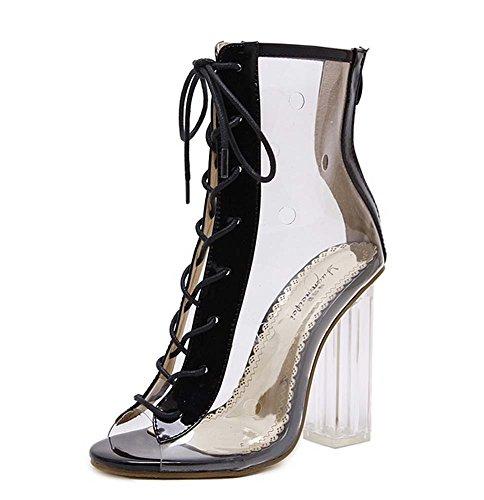 L&Y Donne Peep Toe Pumps Scarpe Crystal Scarpe con cinghia trapezoidale a sandali in pizzo Nero