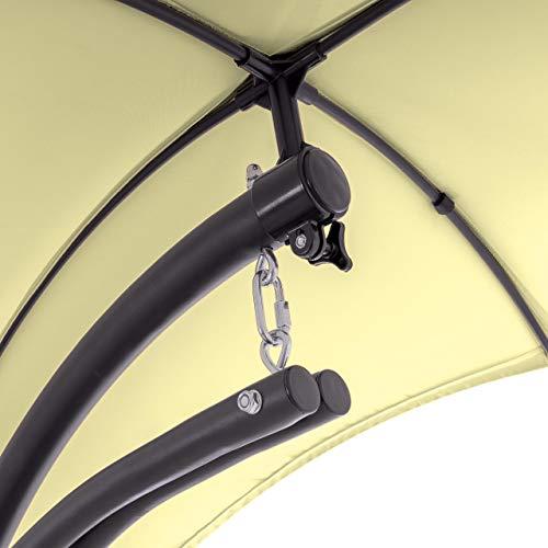 Nexos ZGC34351 Luxus Schwebeliege Beige Schwingliege Relaxliege Hängeliege Sonnenliege Hängeschaukel Inklusive Sonnenschirm - 2