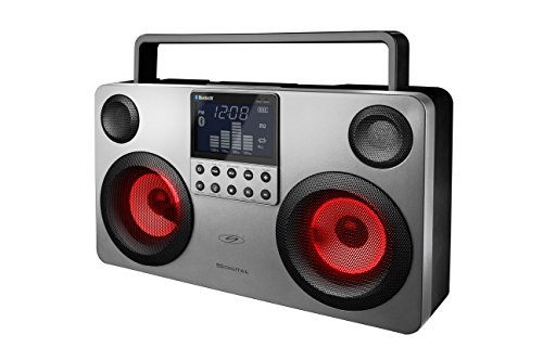 S-Digital Boombox (USB/scheda SD/MP3/radio FM/AUX-IN/Bluetooth), 35,5 x 10,6 x 20,5 cm, Nero/Grigio, GB FS-3700